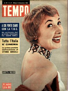 "Lauretta Masiero - Cover of Italian weekly newsmagazine ""Tempo"" (Time), 19th November 1953."