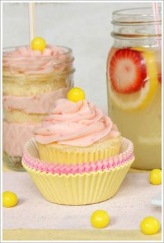 Strawberry Lemonade Cupcakes  (Saw the Lemon Heads...thought of you!)