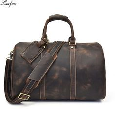 Genuine Travel Leather Weekender Overnight Duffel Bag Gym Sports Luggage Tote Duffle Bags For Men & Women Mens Travel Bag, Duffle Bag Travel, Travel Tote, Weekender Bags, Duffel Bags, Cow Leather, Cowhide Leather, Real Leather, Leather Handle