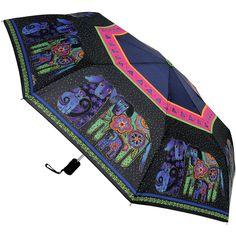 "Laurel Burch Compact Umbrella 42"" Canopy Auto Open/Close-Dog  & Doggies"