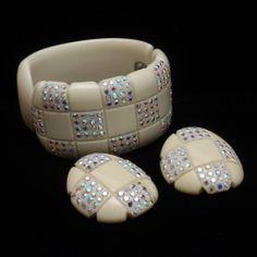 Checkerboard Celluloid & Rhinestones Clamper Bracelet & Earrings Set Vintage