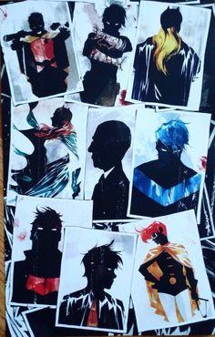 Dustin Nguyen Batman Silhouette Batgirl Robin Nightwing Art Print Lithograph…