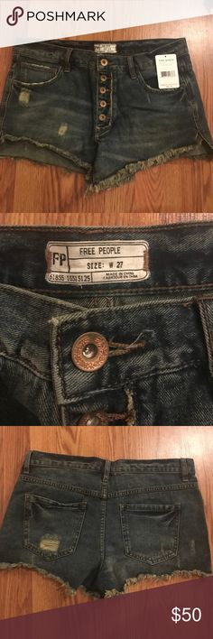 Free people jean shorts Stretchy button up free people jean shorts Free People Shorts Jean Shorts