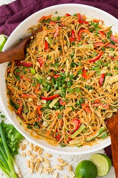 I don't make Thai food often but when I do I always love it! These Spicy Thai Peanut Noodles were no exception! They are easy to make, they require minimal