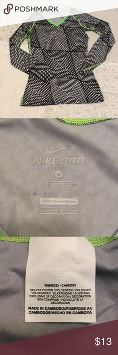 Nike Pro Dri-Fit Top Excellent used condition, worn 2-3 times.  Black, silver/grey and lime green! Nike Tops Tees - Long Sleeve