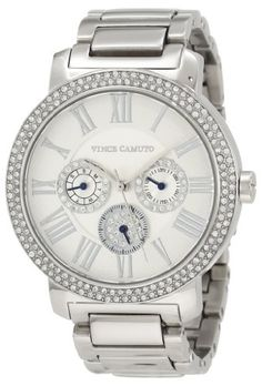 Vince Camuto Women%27s VC%2F5001SVSV Swarovski Crystal Accented Silver-Tone Multi-Function Bracelet Watch
