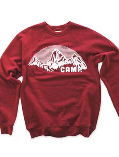 ROCKY MOUNTAIN CREWNECK SWEATSHIRT | TRI-RED, $79.99 by Camp Brand Goods