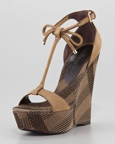Suede and Check Canvas Wedge Sandal by Burberry at Neiman Marcus.