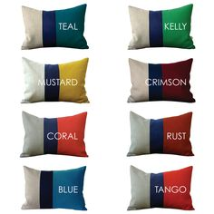 Color Block Stripe Pillow in Kelly Green, Navy and Natural Linen by JillianReneDecor (12x16) Modern Home Decor Stripe Trio. via Etsy. So many pretty color combos!