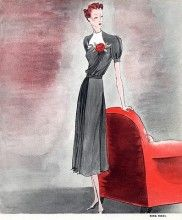 Inspiration: vintage dinner dress Nina Ricci 1938 Dinner Dress, Benigni color illustration 30s 40s war era
