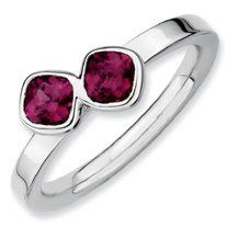 0.9ct Silver Stackable Db Cushion Cut Rh. Garnet Ring. Sizes 5-10 Jewelry Pot. $39.99. All Genuine Diamonds, Gemstones, Materials, and Precious Metals. Your item will be shipped the same or next weekday!. 100% Satisfaction Guarantee. Questions? Call 866-923-4446. 30 Day Money Back Guarantee. Fabulous Promotions and Discounts!