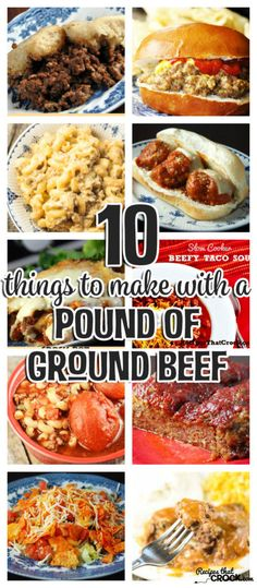 We love ground beef. It is yummy and super versatile! So Cris and I thought we would give you a great list of 10 Things To Make With A Pound of Ground Beef! Slow Cooker Recipes, Cooking Recipes, Healthy Recipes, Oven Recipes, Top Recipes, Dinner With Ground Beef, Meals To Make With Ground Beef, Ground Beef Recipes, Sirloin Recipes