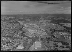 1975 Aerial of Rata St, Henderson, Auckland. Edmonton Rd bottom left. Plessey Factory and orchard at end of Ratanui St (bottom centre) Corbans at right. Whites Aviation Ltd :Photos. WA-72575-G. Alexander Turnbull Library, Wellington, NZ. http://natlib.govt.nz/records/22315415