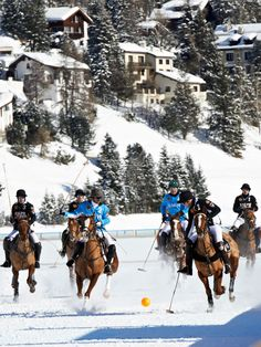 The St. Moritz Polo World Cup on Snow Team Ralph Lauren was lead by Michael Bickford and included Ralph Lauren spokesmodel and polo superstar, Nacho Figueras. Hockey, Polo Horse, St Moritz, Le Polo, Sport Of Kings, Ralph Lauren, Polo Club, Mans World, Equestrian Style