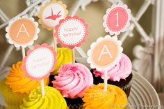 CUSTOM Printable Cupcake Toppers - i heart hackers (you choose font and colors). $15.00, via Etsy.like colors for callie