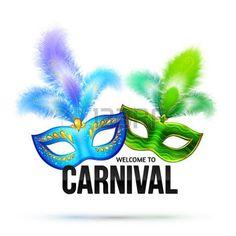 masque carnaval: Masques de carnaval lumineuses avec plumes et panneau noir Bienvenue à Carnaval Illustration