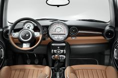 High-Style in a Small Form Factor on We Heart It Classic Mini, Classic Cars, Mini Cooper Interior, Interior Sliding Barn Doors, Mini Clubman, Mini One, Retro Baby, Mini Cooper S, Mini Things
