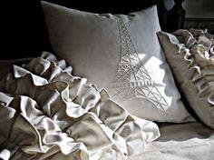 Parisian Pillows: Eiffel Tower and ruffle love