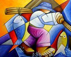 quadro pintado a mão pescador 60x80 Código 509 no Elo7 | QUADROS PARA DECORAÇÃO - GALERIA DE ARTE KATIA ALMEIDA-PINTURA EM TELA (21C7B5) Cubist Art, Abstract Art, Shape Art, Impressionism Art, Colorful Paintings, Fish Art, Art Plastique, Art Techniques, Art Pictures