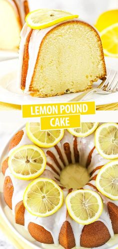 Topped with homemade lemon icing, this Lemon Pound Cake is every lemon lovers' dream dessert. It's dense but soft and tender, just as a pound cake should be, with a refreshing lemon flavor for summer. Moist Lemon Pound Cake, Sour Cream Pound Cake, Best Cake Recipes, Pound Cake Recipes, Dessert Recipes, Lemon Desserts, Delicious Desserts, Basic Butter Cookies Recipe, Lemon Icing