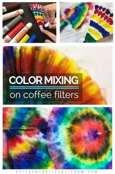 Use Markers And Coffee Filters To Experiment With Color Mixing And Create Some Awesome Tie Dye Designs. This Is An Easy One Day Process Art Project Or Just The Beginning. These Colorful Circles Can Be Used For Flowers, Snowflakes, Butterflies, And Coffee Filter Art, Coffee Filter Crafts, Coffee Filter Projects, Easy Art Lessons, Art Lessons Elementary, Color Art Lessons, Easy Art Projects, Projects For Kids, Preschool Art Projects