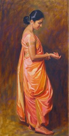 Lady with silk saree: Painting Indian Art Paintings, Cool Paintings, Beautiful Paintings, Woman Painting, Figure Painting, Sexy Painting, Indian Drawing, Saree Painting, India Art