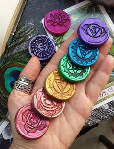 XL Meditation Medallions - Essential Oil Scented Sanskrit Chakra Symbol & Flowering Lotus Sets for Your Sacred Space, Meditation Practice by LunaBlueBoutique on Etsy https://www.etsy.com/listing/239312335/xl-meditation-medallions-essential-oil