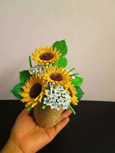3D Quilled Flowers & Sunflowers in Vase