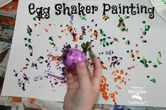 Egg Shaker Painting - fun Easter art activity for kids