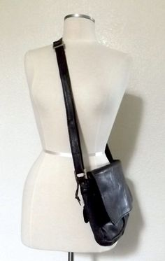 Vintage Black Leather Messenger Bag - Crossbody Purse - Distressed Leather