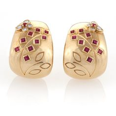 Van Cleef & Arpels Retro Ruby and Diamond Earrings.  Available exclusively at Macklowe Gallery.