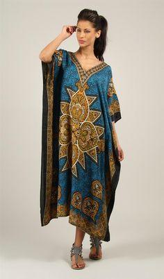 Rubina Kapoor's Womens Long Beautiful Elegant Blue Satin Print - Plus Size Maxi Kaftan