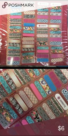 Jamberry Nail Wrap Samples Approx 12 sheets (some all together in groups of 5 and some cut apart) of Jamberry samples or accent Nail Wraps. Many different designs. 😍Some of the smaller ones will fit kids! Hand out for people to try or pair with your favorite polish and use them as accent nails!! I am selling at below consultant price. Only will take offers on bundles. Thanks ladies! 😘❤️💕💅🏼 These are being sold as a bundle. $6 for all‼️ Jamberry Other