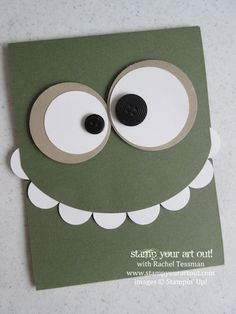 Green with Eyeballs On Top Toothy monster card… - Stampin' Up!® - Stamp Your Art Out! Toothy monster card… - Stampin' Up!® - Stamp Your Art Out! Boy Cards, Kids Cards, Tarjetas Diy, Punch Art Cards, Karten Diy, Monster Cards, Kids Birthday Cards, Birthday Sayings, Sister Birthday