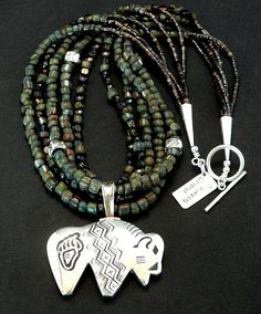 Sterling Silver Buffalo Pendant with 5 Strands of Trade Beads, Vintage Nailheads, Shell Heishi and Sterling