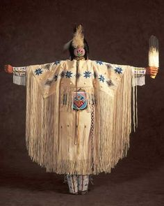 American NAtive Indian costume (back view) with features fan