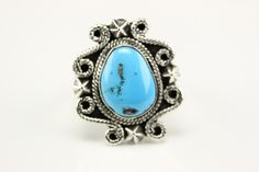 Native American Navajo Sterling Silver Turquoise Ring Size 9 By Daniel Benally by LoudCrowTrading on Etsy