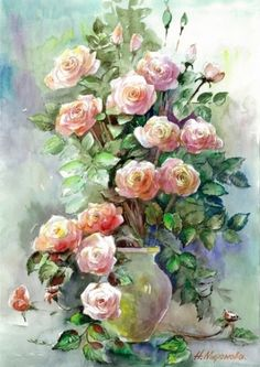 Rose Paintings, Flower Art, Floral Wreath, Wreaths, Flowers, Decor, Handmade Crafts, Sketches, Painted Flowers