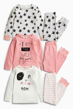 Buy Three Pack Cat Snuggle Pyjamas from the Next UK online shop Baby Outfits, Toddler Girl Outfits, Kids Nightwear, Girls Sleepwear, Pyjamas, Little Girl Fashion, Kids Fashion, Fashion Hats, Shoe Size Chart Kids
