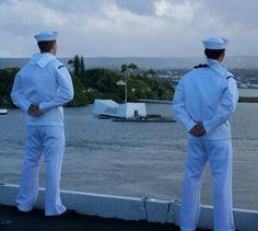 Manning the Rails - USS Ronald Reagan - CVN 76 - 2011 - Overlooking Arizona Memorial at Pearl Harbor during departure
