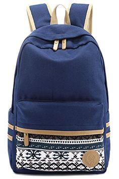 Leaper Casual Style Lightweight Canvas Laptop Bag Cute Backpack Shoulder Bag  School Backpack Travel Bag (Navy Blue)     For more information 24646c046e256