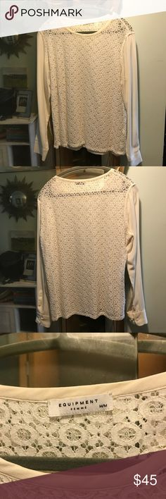 M Equipment Lace silk blouse GORGEOUS ivory blouse.  Purchased on Posh but have yet to wear.  Such a beautiful piece!!! I'm sure I'll wear it if I don't sell it so the price is firm.  I just hate to see it hanging with no one enjoying it! Equipment Tops Blouses