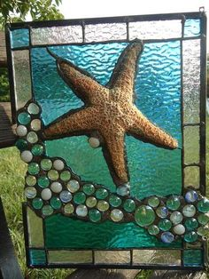 "Stained Glass Tropical Sea Beach Starfish Suncatcher Panel Tiffany St 11""x 14"""