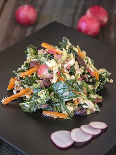 Kale and Brussels Sprout Salad - I didn't use the dressing they include with this recipe; i used a lemon-sesame dressing that was quite delicious instead.