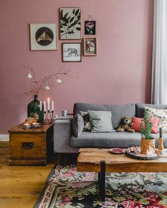 Living Room with Pink Wall in A Cozy Christmas Home in a Former Dutch Vicarage - The Nordroom Living Room Inspiration, Home Decor Inspiration, Cozy Living Rooms, Living Room Decor, Murs Roses, Warm Home Decor, Pink Walls, Home And Deco, Creative Home