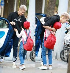 """yifan jumping out of the car to hug his six year old grandson and namesake after 4 months apart. it was cute until he was interrupted by his son, baekhyun, saying """"you should really stop dressing like that, dad - you're not Baekhyun, Rapper, 5 Years With Exo, Kai, Kris Exo, Wu Yi Fan, Gym Workout For Beginners, Korean Men, Models"""
