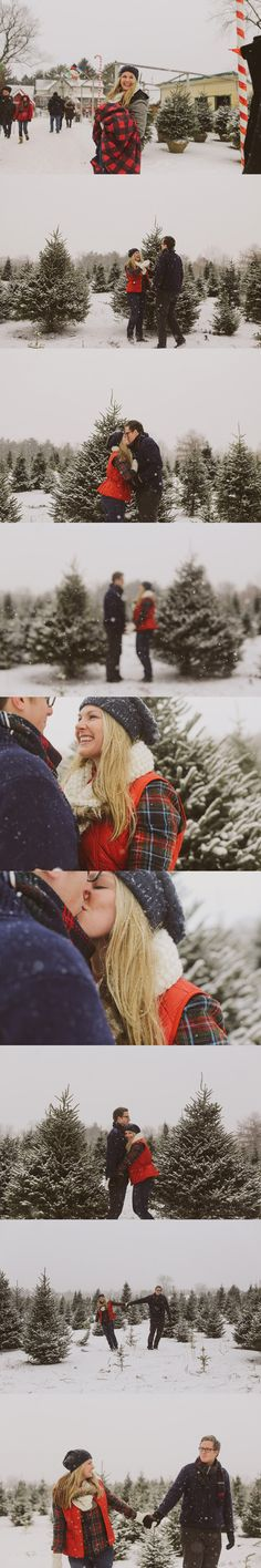 Winter Engagement Session | Evoking You -- Christmas Tree Farm