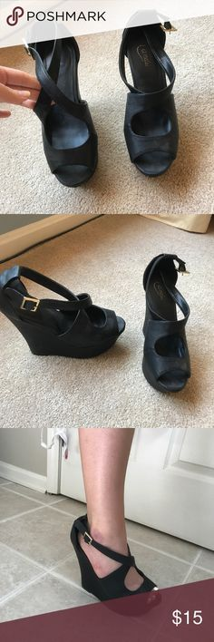 BLACK HEELS!! So cute only worn a few times to formal and prom! So cute for any special occasion. They are 51/2 inches. Also the ankle strap is adjustable which makes them a lot easier to walk in. They are a size 8 but I think they fit more like an 81/2 but again, there is an adjustable strap to fix a sizing issue Candie's Shoes Heels