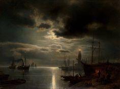 Hermann Herzog, A Moonlit Harbor; 1867