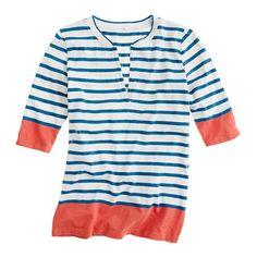 Colorblock-stripe slash henley... good comfy shirt